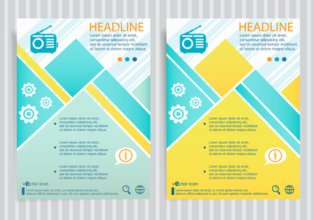 Retro radio symbol on vector brochure flyer design layout template. Business modern template Illustration