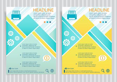 inkjet: Printer symbol  on vector brochure flyer design layout template. Business modern template