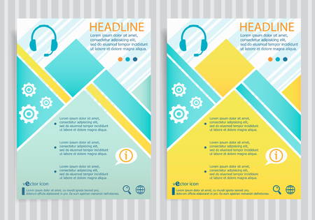 Live help symbol  on vector brochure flyer design layout template. Business modern template