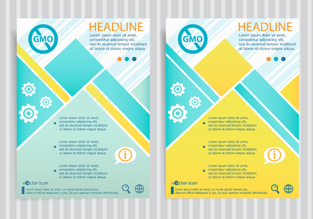 Without Genetically modified food symbol on vector brochure flyer design layout template. Business modern template