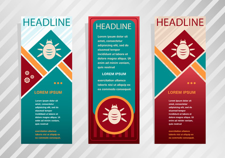 acarid: Bug icon on vertical banner. Modern abstract flyer, banner, brochure design template.