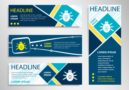 acarid: Bug icon on horizontal and vertical banner. Beetle symbol abstract banner, flyer design template.
