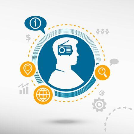 fm: Retro radio icon and male avatar profile picture. Flat design vector illustration concept for reaching goals.