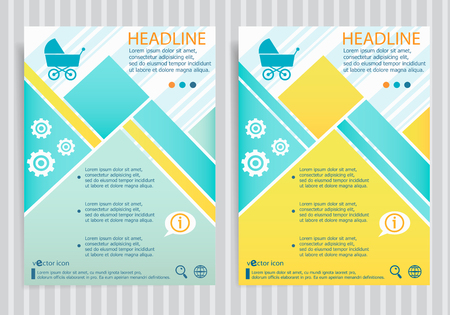 Baby buggy symbol on vector brochure flyer design layout template. Business modern template Illustration