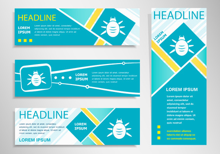 acarid: Bug icon on vertical and horizontal banner. Modern abstract flyer, banner design template.
