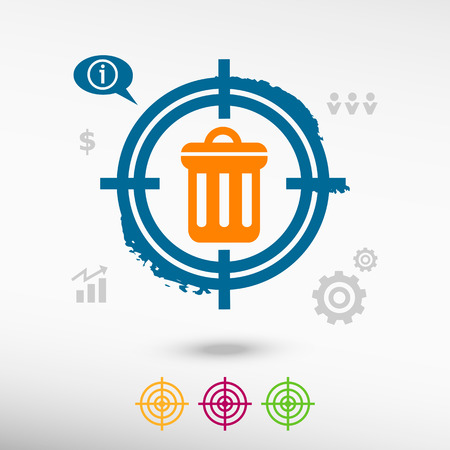 Trash can icon on target icons background. Flat illustration.
