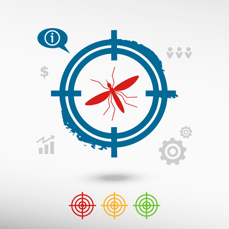 infected mosquito: Mosquito icon on target icons background.  Malaria, Zika virus concept. Infected mosquito vector image.  Attention infected mosquito. Insect simbol. Vector illustration. Flat design style.
