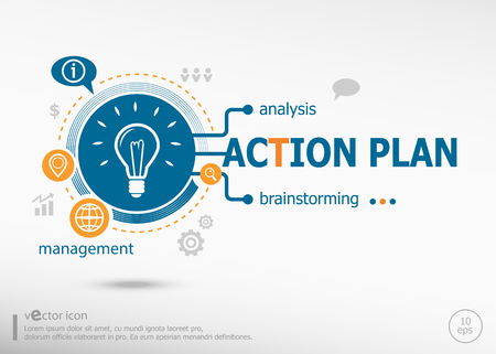 estimating: Action plan and marketing concept. Action plan concept for creative process.