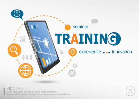 Training concept and realistic smartphone black color. Infographic business for graphic or web design layout