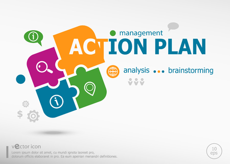 estimating: Action plan word cloud on colorful jigsaw puzzle. Infographic business for graphic or web design layout