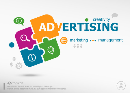 Advertising word cloud on colorful jigsaw puzzle. Infographic business for graphic or web design layout Vektoros illusztráció