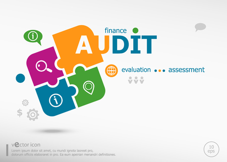 validity: Audit word cloud on colorful jigsaw puzzle. Infographic business for graphic or web design layout Illustration