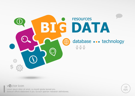 Big data aword cloud on colorful jigsaw puzzle. Infographic business for graphic or web design layout
