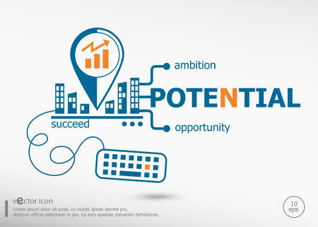 potential: Potential and marketing concept. Potential concept for application development, creative process. Illustration