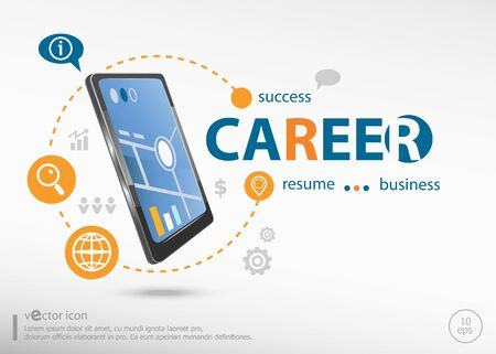 Career concept and realistic smartphone black color. Career concept for creative process.