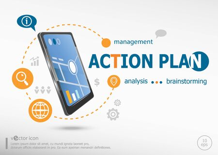 estimating: Action plan concept and realistic smartphone black color. Action plan concept for creative process.