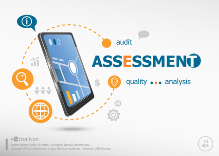 findings: Assessment concept and realistic smartphone black color. Infographic business for graphic or web design layout