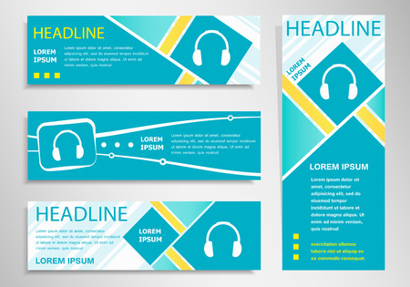 Headphone icon on vertical and horizontal banner. Modern abstract flyer, banner design template. Illustration