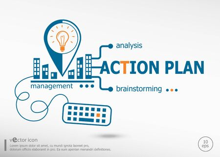 estimating: Action plan and marketing concept. Action plan concept for application development, creative process.