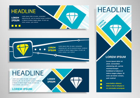 gemstone: Diamond icon on horizontal and vertical banner. Diamond symbol abstract banner, flyer design template.