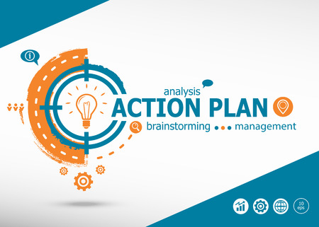 Action plan on target icon background. Flat illustration. Infographic business for graphic or web design layout Illustration