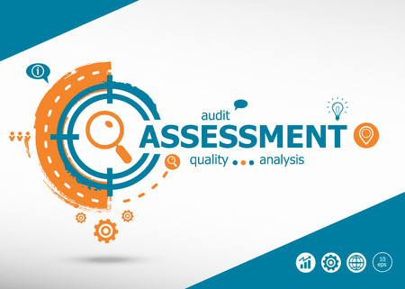assess: Assessment on target icons background. Flat illustration. Infographic business for graphic or web design layout