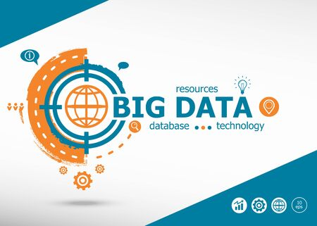 Big data on target icon background. Flat illustration. Infographic business for graphic or web design layout Illustration