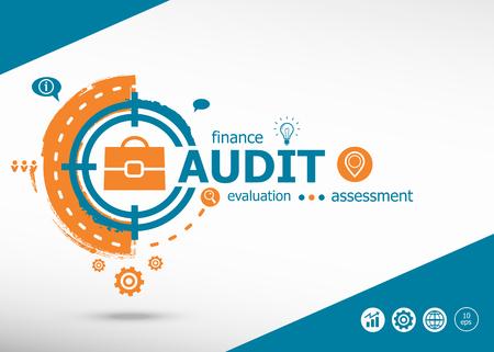 validez: Concepto de auditoría en el fondo del icono de destino. Ejemplo plano Negocio infográfico para diseño gráfico o web.