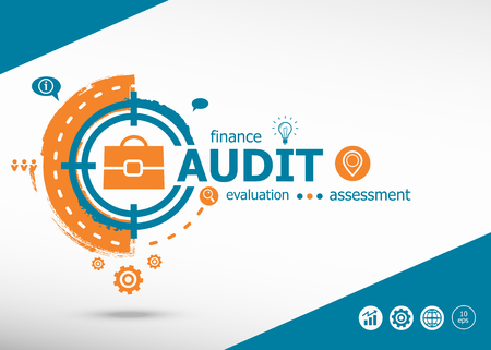 Audit concept on target icon background. Flat illustration. Infographic business for graphic or web design layout Illustration