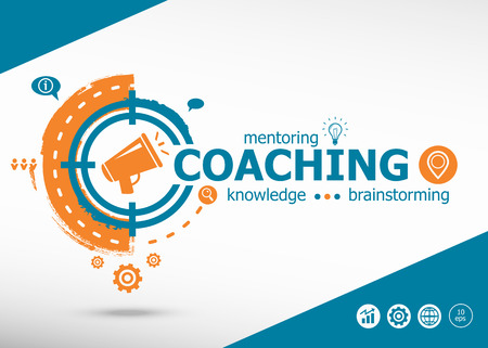 Coaching and marketing concept on target icon background. Flat illustration. Infographic business for graphic or web design layout