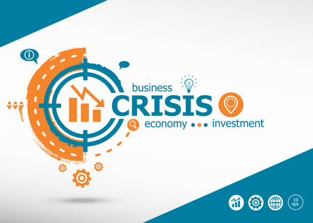 Crisis concept on target icon background. Flat illustration. Infographic business for graphic or web design layout