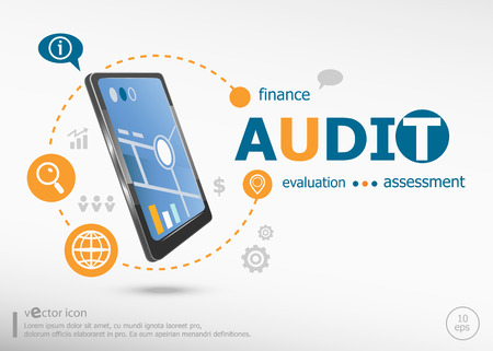 validez: Audit word cloud concept and realistic smartphone black color. Infographic business for graphic or web design layout Vectores