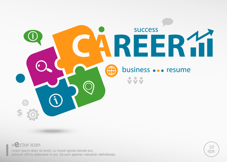 Career aword cloud on colorful jigsaw puzzle. Infographic business for graphic or web design layout