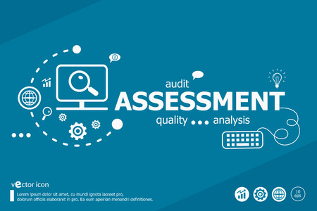 assess: Assessment related words and marketing concept. Infographic business. Project for web banner and creative process.