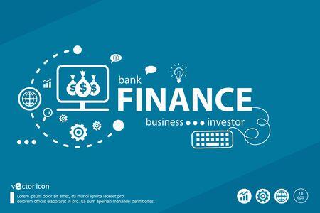 Finance liée mots et concept marketing. Entreprise d'infographie. Vecteurs