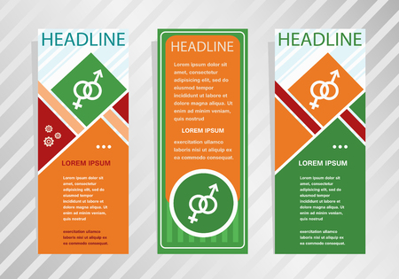 marital: Male and female icon on vertical banner. Modern banner, brochure design template.