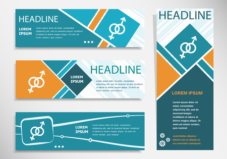marital: Male and female icon on horizontal and vertical banner. Modern banner design template.