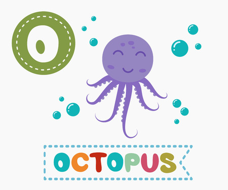 devilfish: Hand drawn letter O and funny cute octopus. Childrens alphabet in cartoon style, vector illustration.