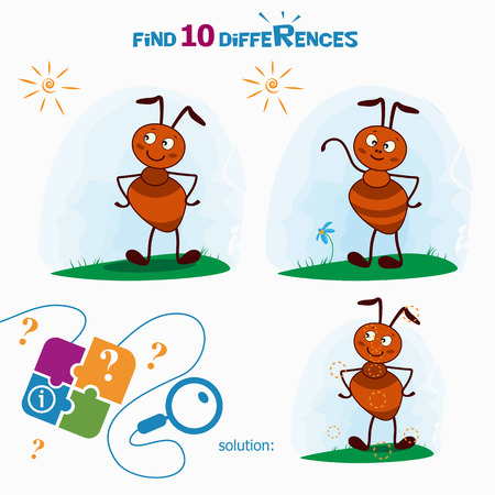 guess: Find 10 differences. Cartoon Vector Illustration of Finding Differences Educational Activity Task for Children with cute ant.