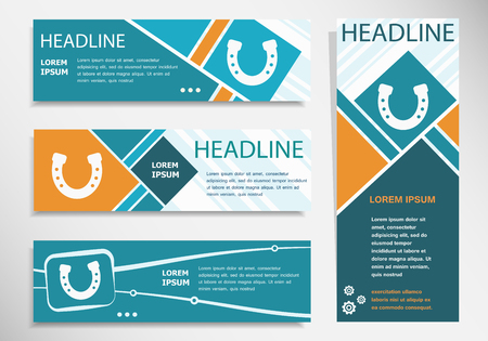 Horseshoe icon on horizontal and vertical banner. Modern banner design template.