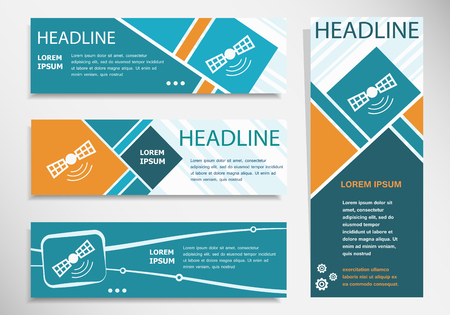 Satellite icon on horizontal and vertical banner. Modern banner design template