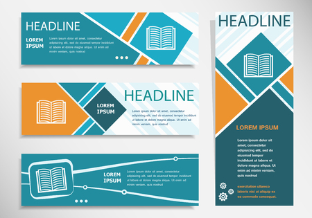 Book icon on horizontal and vertical banner. Modern banner design template