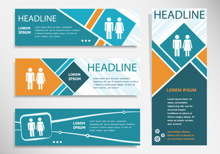 Man and woman icon on horizontal and vertical banner. Modern banner design template Ilustrace