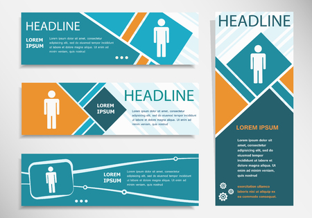 Man icon on horizontal and vertical banner. Modern banner design template