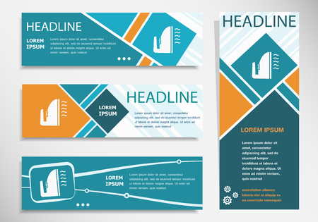 Iron icon on horizontal and vertical banner. Modern banner design template.