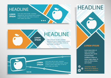 Apple Icon on horizontal and vertical banner. Modern banner design template.