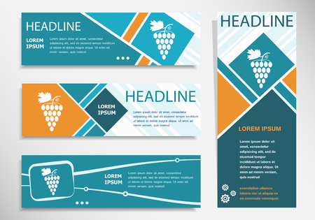 Grape icon on horizontal and vertical banner. Modern banner design template.