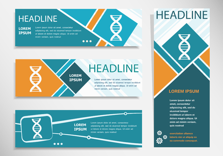 DNA icon on horizontal and vertical banner. Modern banner design template.