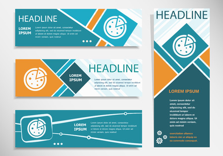 Pizza icon on horizontal and vertical banner. Modern banner design template.