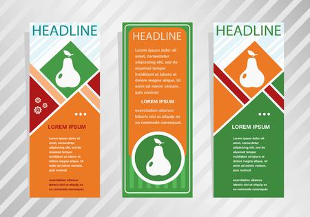 Pear with leaf sign on vertical banner. Modern banner, brochure design template. Ilustrace